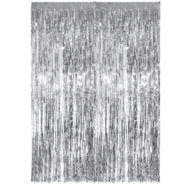 """Kurtyna na drzwi """"Classic"""", srebrna, PartyDeco, 250 x 90 cm"""