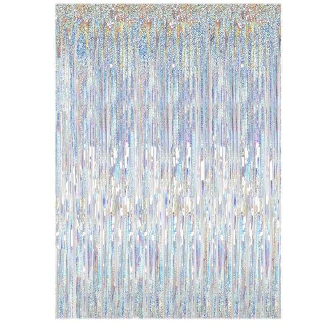 """Kurtyna na drzwi """"Classic Holo"""", srebrna holograficzna, PartyDeco, 250 x 90 cm"""