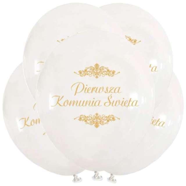 """Balony """"IHS Pierwsza Komunia Święta"""", białe, VIPER, 12"""", 5 szt"""