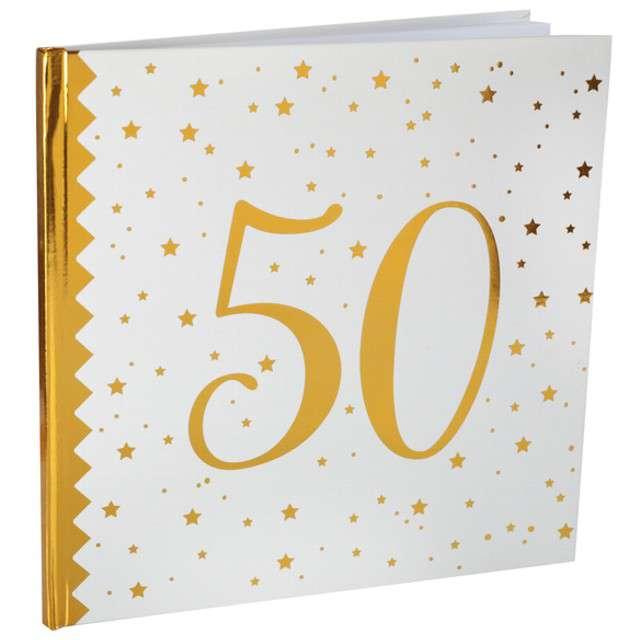 """Księga Gości """"50 Urodziny"""", SANTEX, 24 x 24 cm, 20 kartek"""