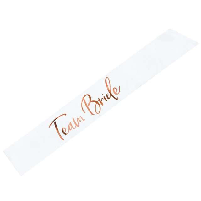 """Szarfa """"Team Bride"""", biała, PartyDeco, 1 szt"""