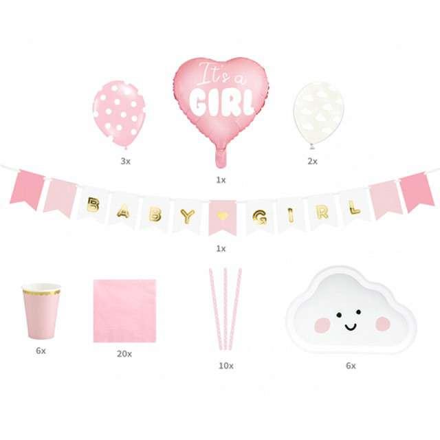 Zestaw dekoracji Girl różowy PartyDeco 1kpl
