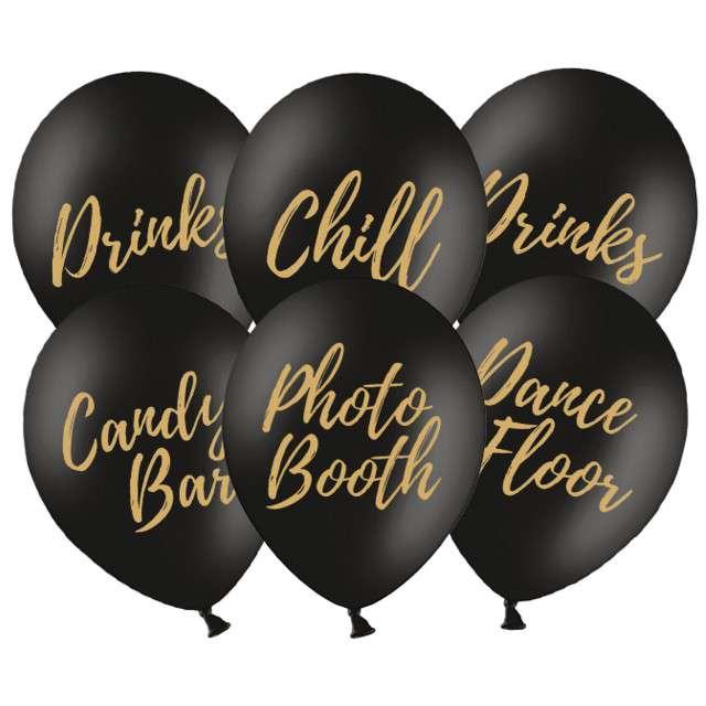 "Balony ""Candy Bar, Chill, Dance Floor, Drinks, Photo Booth"", czarne, Partydeco, 6 szt"