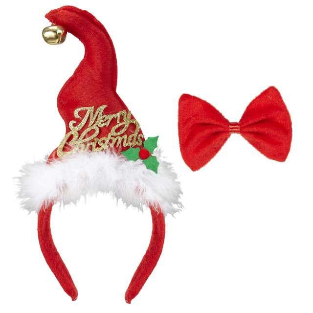 """Opaska party """"Jingle Bell"""", czerwony, zestaw opaska + mucha, WIDMANN"""