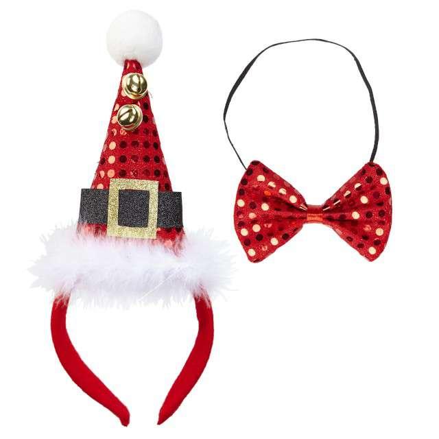 """Opaska party """"Jingle Bells"""" czerwony, zestaw opaska + mucha, WIDMANN"""