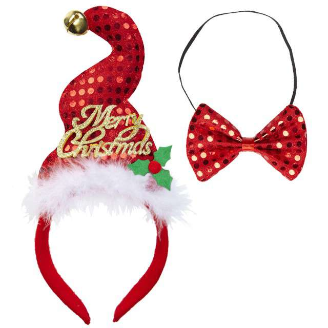 "Opaska party ""Merry Christmas"" czerwony, zestaw opaska + mucha, WIDMANN"