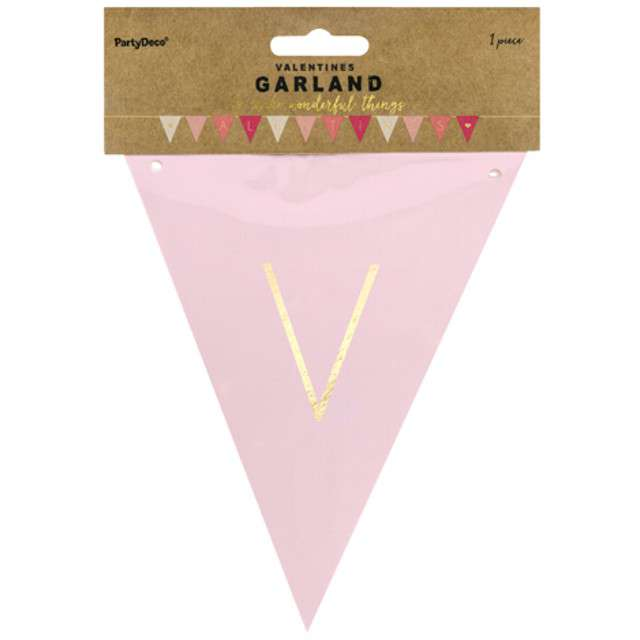 """Baner """"Walentynki - Valentines"""", różowy, PartyDeco, 2,1m"""