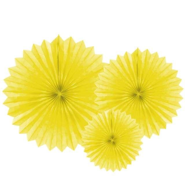 """Rozeta wisząca """"Classic """", żółta, PartyDeco, 3 szt"""