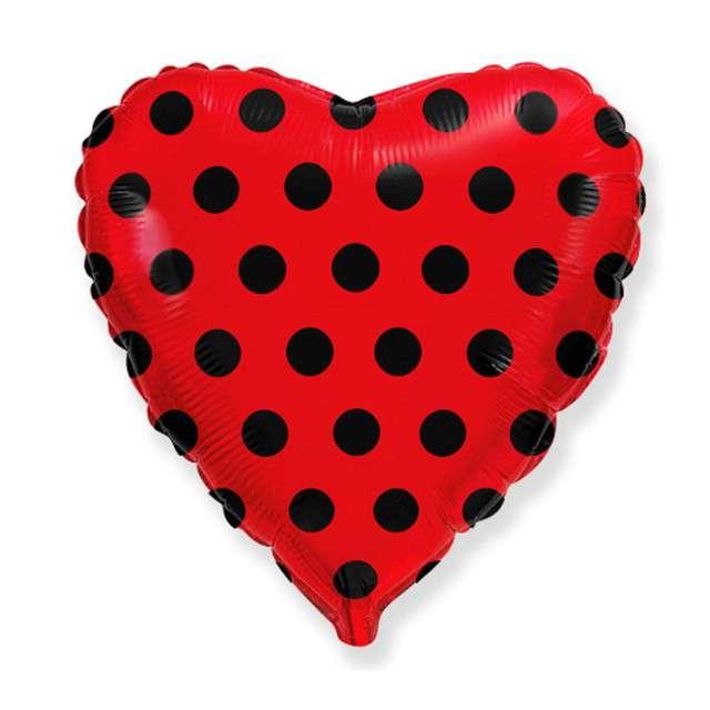 """Balon foliowy """"Serce w kropki"""", czerwone, Godan, 18"""", HRT"""