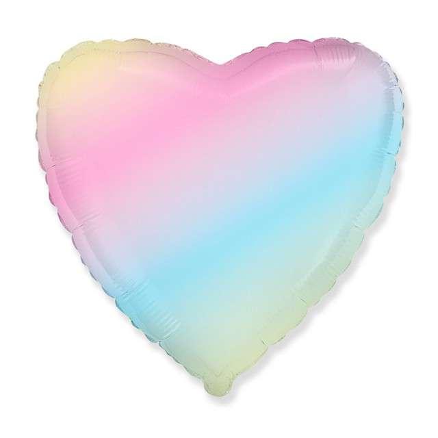"""Balon foliowy """"Serce Pastelowe"""", tęczowy. Godan, 18"""", HRT"""