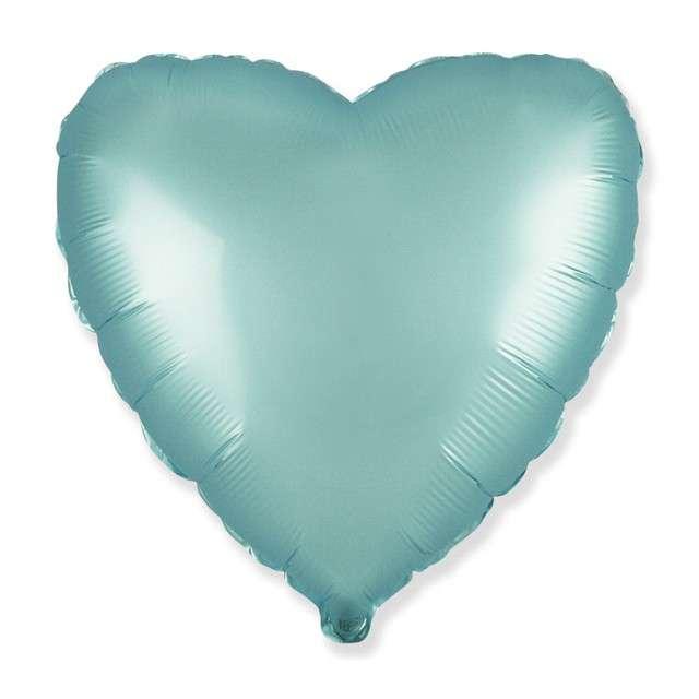 """Balon foliowy """"Serce satynowe"""", jasnoniebieski, Flexmetal, 18"""", HRT"""