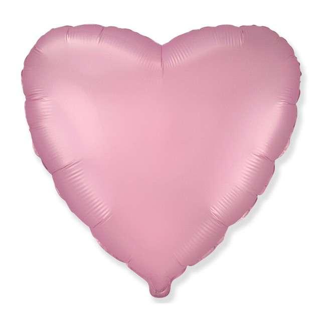 """Balon foliowy """"Serce satynowe"""", jasnoróżowy, Flexmetal, 18"""", HRT"""