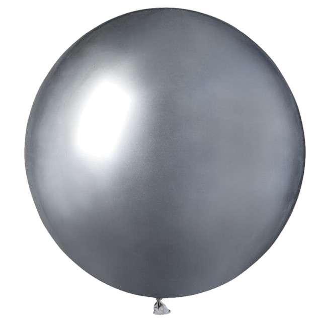 "Balony ""Shiny"", srebrne, GEMAR, 19"", 25 szt"