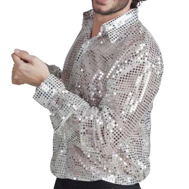 """Strój dla dorosłych """"Koszula Cekinowa Disco"""", srebrna, Boland, rozm. L"""