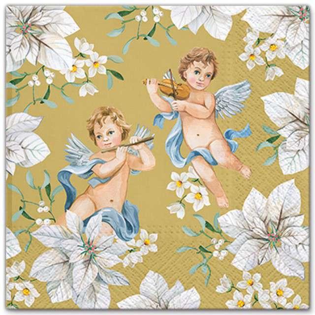"""Serwetki """"Anioły w kwiatach"""", złoty, PAW, 33 cm, 20 szt"""