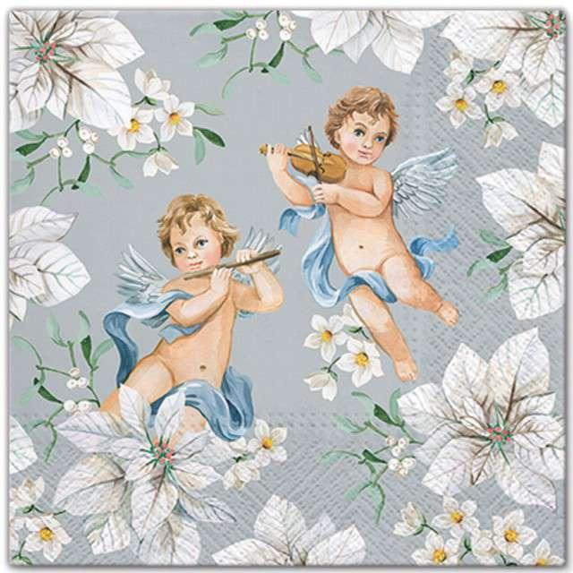 """Serwetki """"Anioły w kwiatach"""", srebrny,  PAW, 33 cm, 20 szt"""