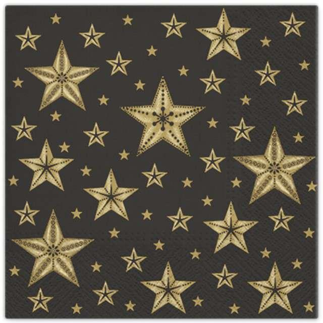 """Serwetki """"Piękne gwiazdy"""", czarny, PAW, 33 cm, 20 szt"""