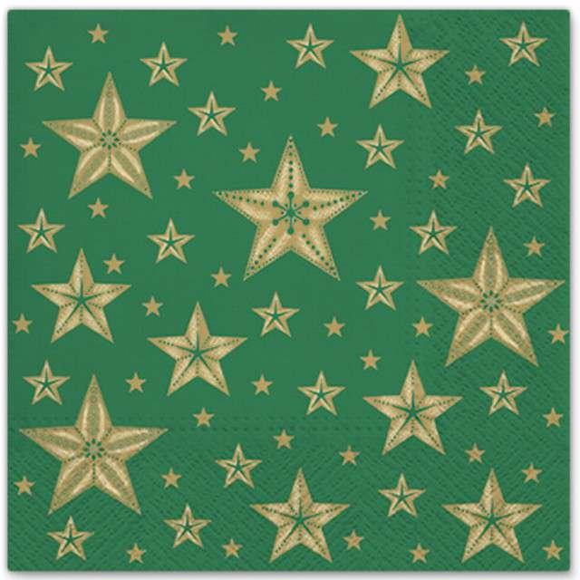 """Serwetki """"Piękne gwiazdy"""", zielony, PAW, 33 cm, 20 szt"""