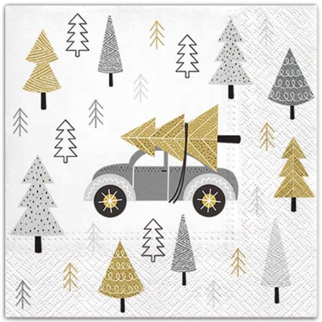 """Serwetki """"Świąteczny samochód"""", srebrny, PAW, 33 cm, 20 szt"""