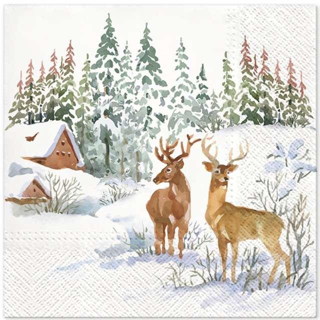 """Serwetki """"Jelenie na śniegu"""", PAW, 33 cm, 20 szt"""