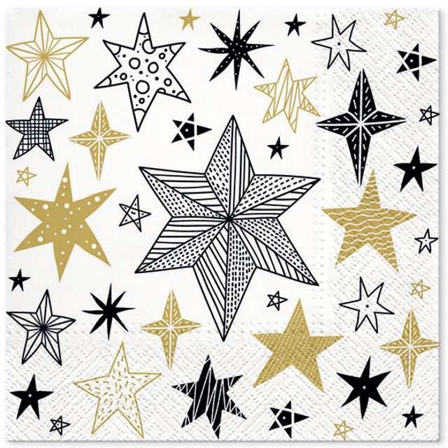 """Serwetki """"Geometryczne gwiazdy"""", PAW, 33 cm, 20 szt"""