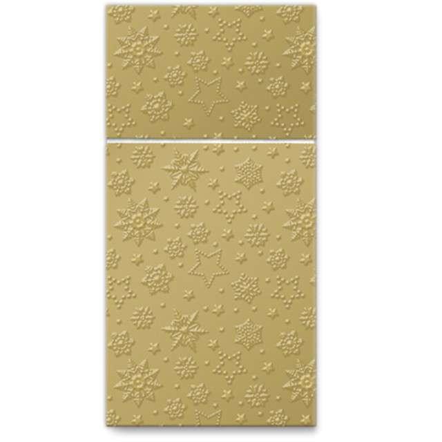 """Kieszonka na sztućce """"Zimowe płatki"""", złota, PAW, 40 cm, 16 szt"""