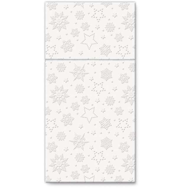 """Kieszonka na sztućce """"Zimowe płatki"""", perłowa, PAW, 40 cm, 16 szt"""