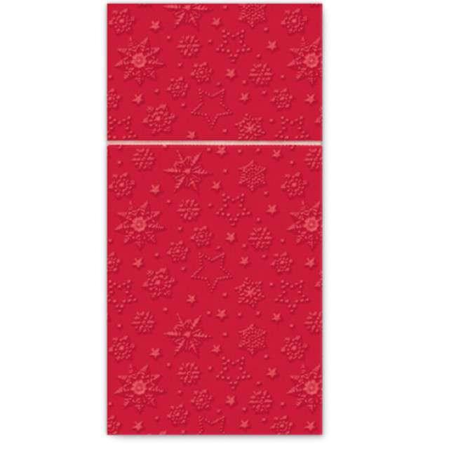"""Kieszonka na sztućce """"Zimowe płatki"""", czerwona, PAW, 40 cm, 16 szt"""