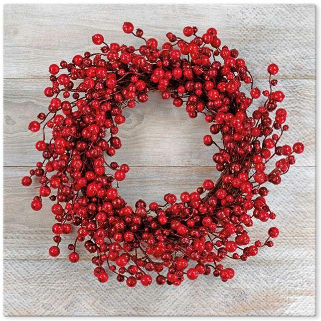 """Serwetki """"Czerwony wieniec"""", PAW, 33 cm, 20 szt"""