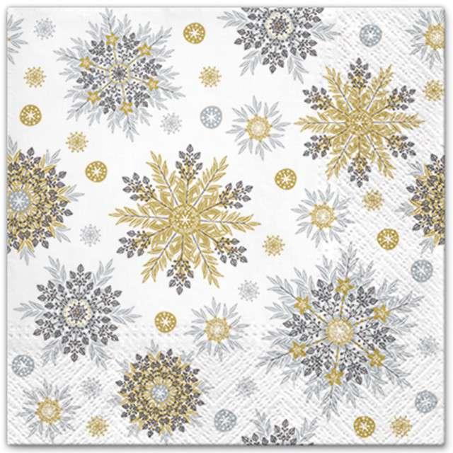 """Serwetki """"Płatki śniegu"""", złote, PAW, 33 cm, 20 szt"""
