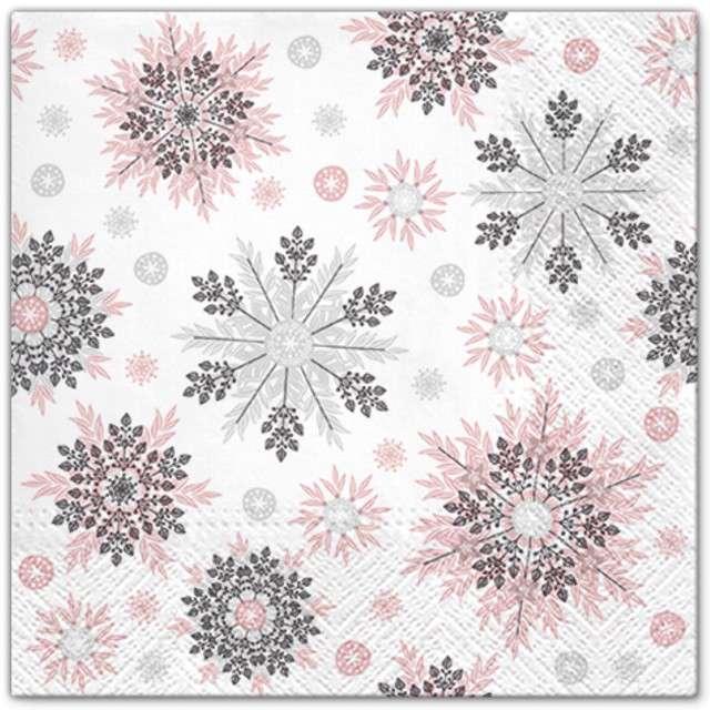 """Serwetki """"Płatki śniegu"""", różowe, PAW, 33 cm, 20 szt"""