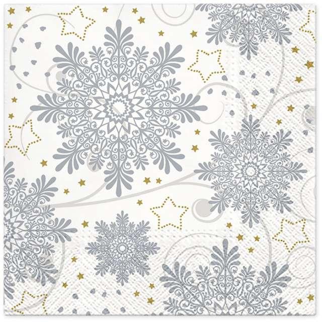 """Serwetki """"Płatki śniegu"""", srebrne, PAW, 33 cm, 20 szt"""