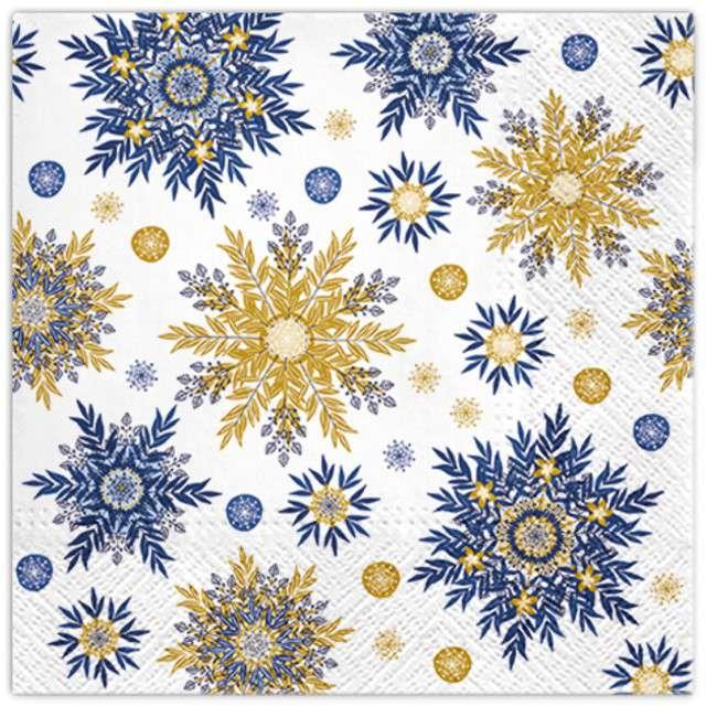 """Serwetki """"Płatki śniegu"""", niebieskie, PAW, 33 cm, 20 szt"""