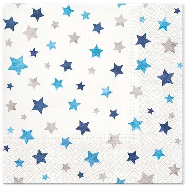 """Serwetki """"Migoczące gwiazdki"""", niebieskie, PAW, 33 cm, 20 szt"""