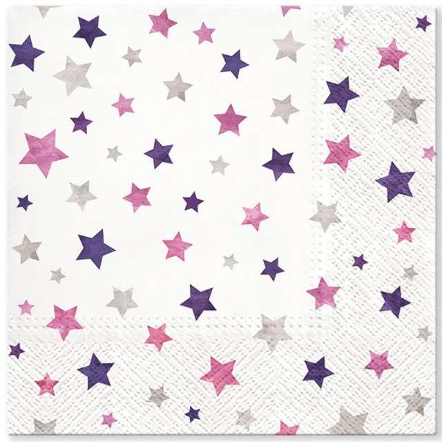 """Serwetki """"Migoczące gwiazdki"""", fioletowe, PAW, 33 cm, 20 szt"""