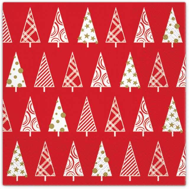 """Serwetki """"Trójkątne drzewka"""", czerwone, PAW, 33 cm, 20 szt"""