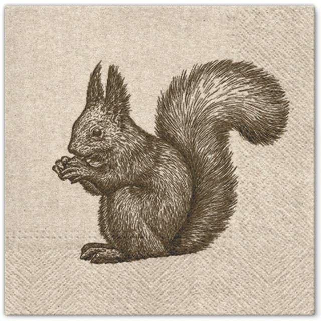"""Serwetki """"Szkic wiewiórki"""", PAW, 33 cm, 20 szt"""