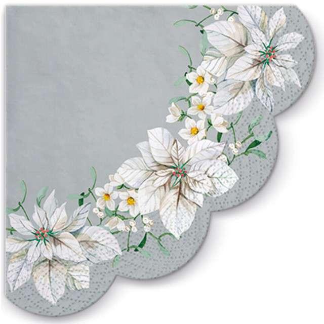 """Serwetki rondo """"Biała poinsencja"""", srebrne, PAW, 32 cm, 12 szt"""