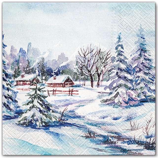 """Serwetki """"Zimowa wioska"""", PAW, 33 cm, 20 szt"""