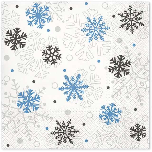 """Serwetki """"Świąteczne płatki"""", niebieskie, PAW, 33 cm, 20 szt"""
