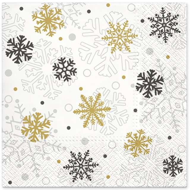"""Serwetki """"Świąteczne płatki"""", złote, PAW, 33 cm, 20 szt"""