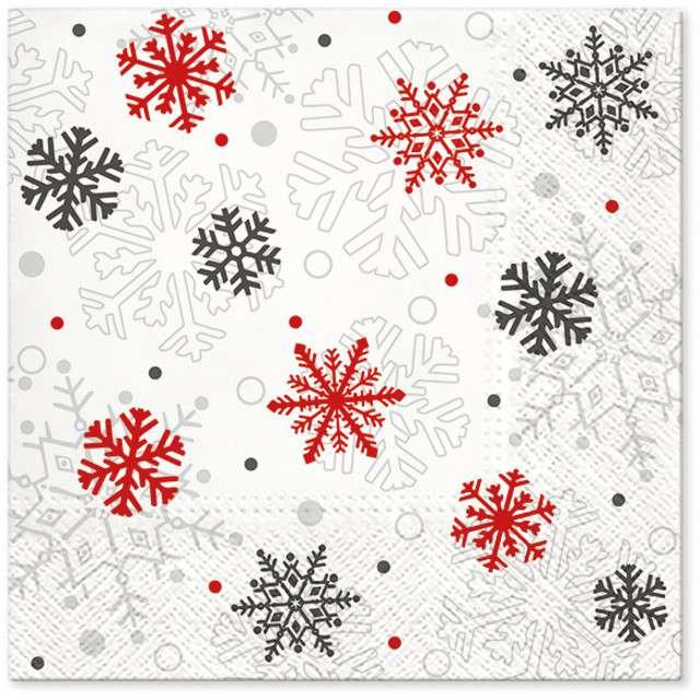 """Serwetki """"Świąteczne płatki"""", czerwone, PAW, 33 cm, 20 szt"""