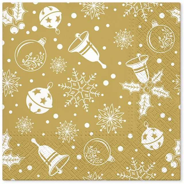 """Serwetki """"Świąteczny czas"""", złote, PAW, 33 cm, 20 szt"""