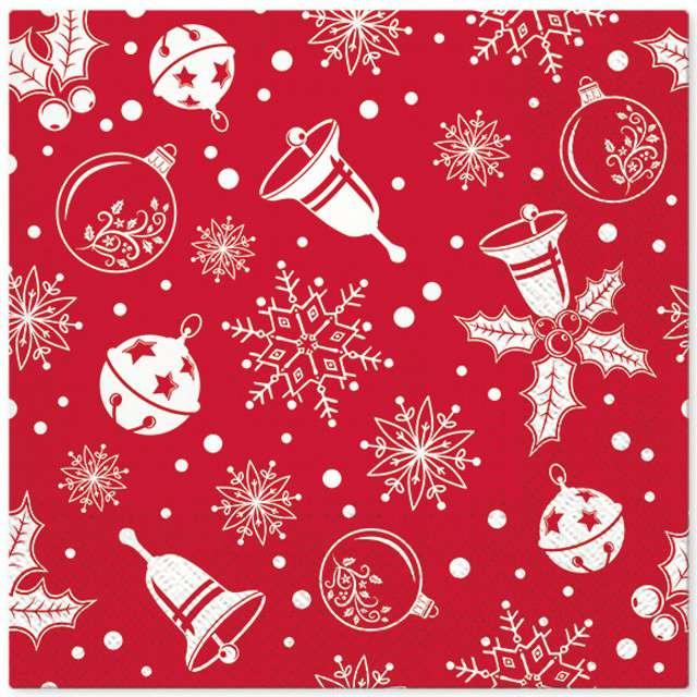 """Serwetki """"Świąteczny czas"""", czerwone, PAW, 33 cm, 20 szt"""