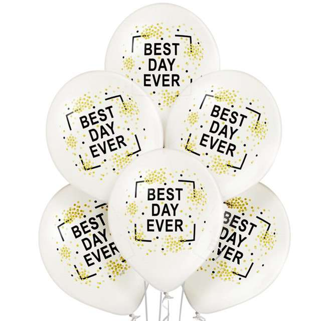 "Balony ""Best Day Ever"", metalik perłowy, BELBAL, 12"", 6 szt"