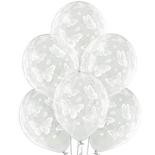 """Balony """"Motylki Ślubne"""", przezroczyste, BELBAL, 12"""", 6 szt"""