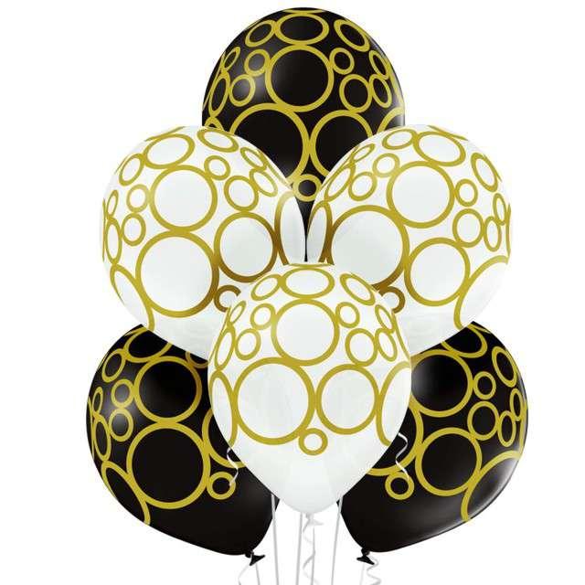 "Balony ""Kręgi"", pastel białe, BELBAL, 12"", 6 szt"