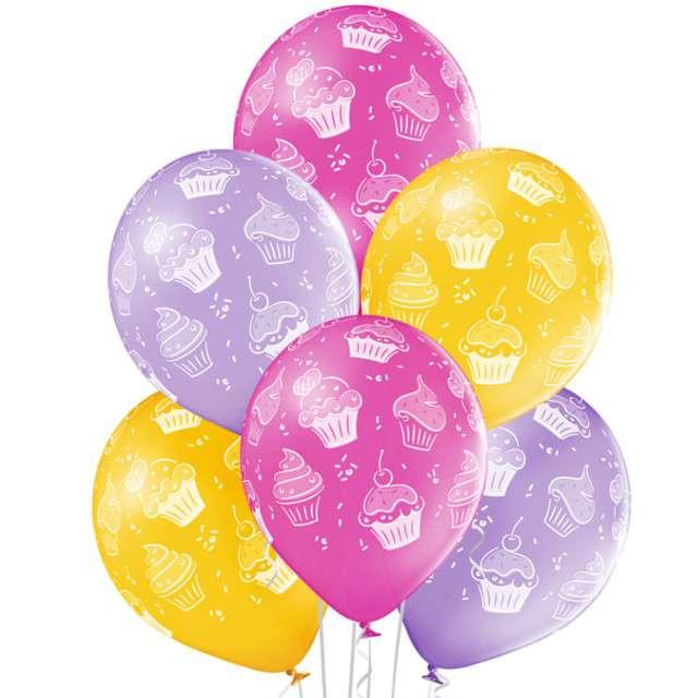 """Balony """"Babeczki kapkejki"""",pastel mix, BELBAL, 12"""", 6 szt"""