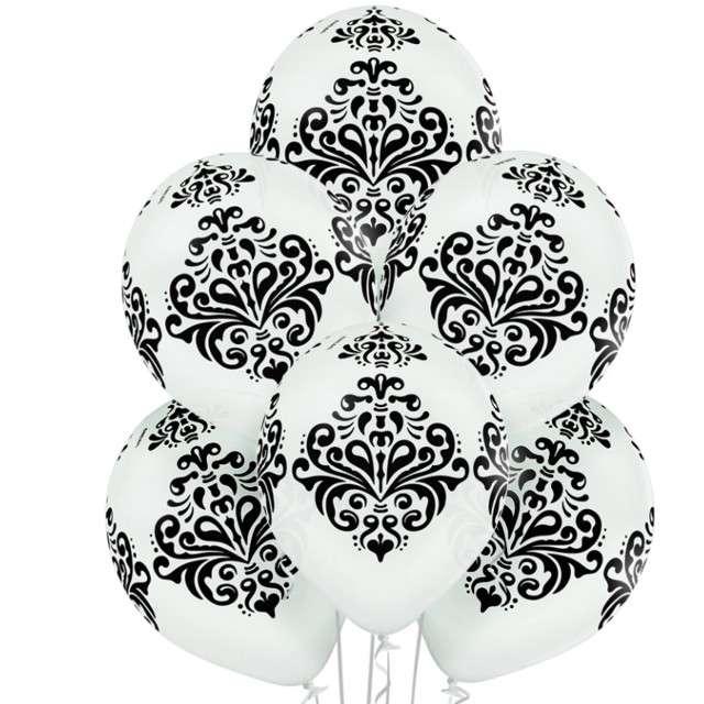 """Balony """"Damask"""",pastel biały, BELBAL, 12"""", 6 szt"""