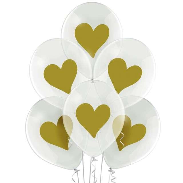 """Balony """"Złote Serca"""",przezroczyste, BELBAL, 12"""", 6 szt"""